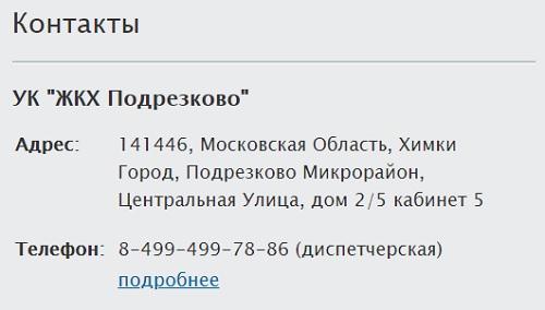 контактная информация подрезково