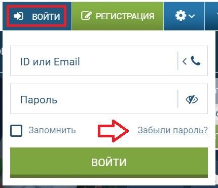 """1хСтавка """"Забыли пароль"""""""