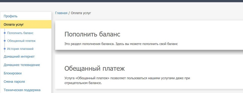 интерфейс лк иона