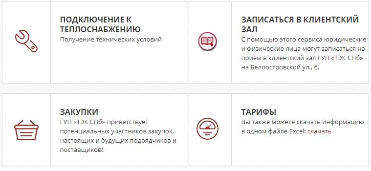 """ГУП """"ТЭК СПб"""" функционал"""