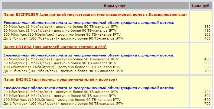 Sivash.net тарифы