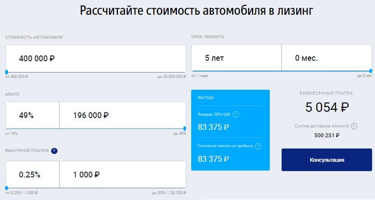ВТБ Лизинг расчет